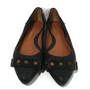 Rebecca Minkoff Black Textured Point Toe Flats